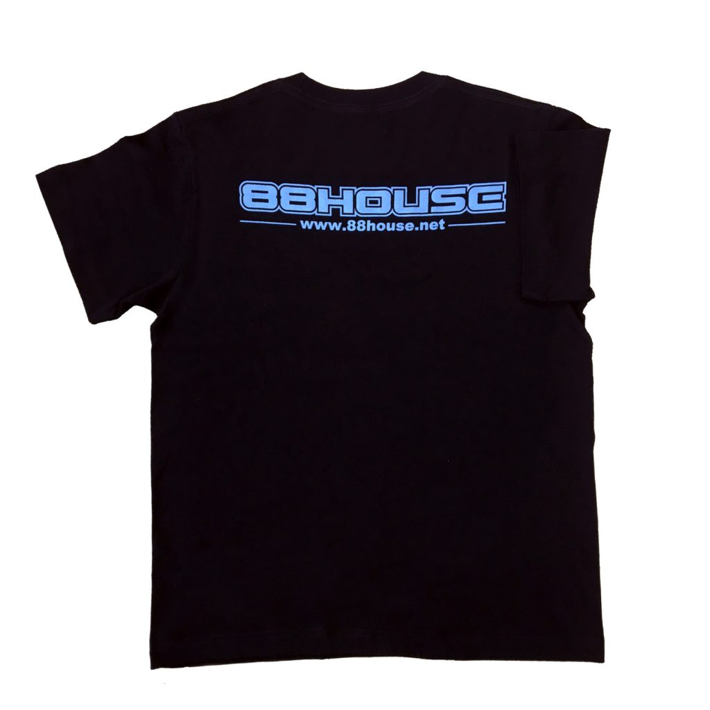 ロゴ  Tシャツ 黒×水色